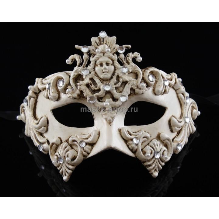 Маскарадная белая маска Dama