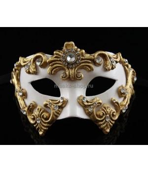 Белая маскарадная маска Barocco