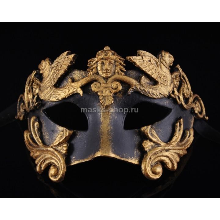 Маска для маскарада Barocco Grifone Bronze