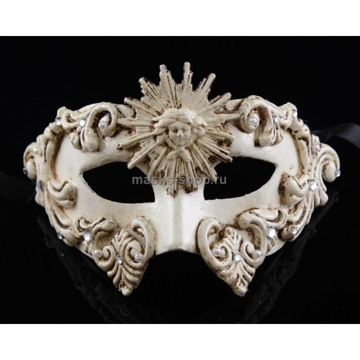 Белая маскарадная маска Sole