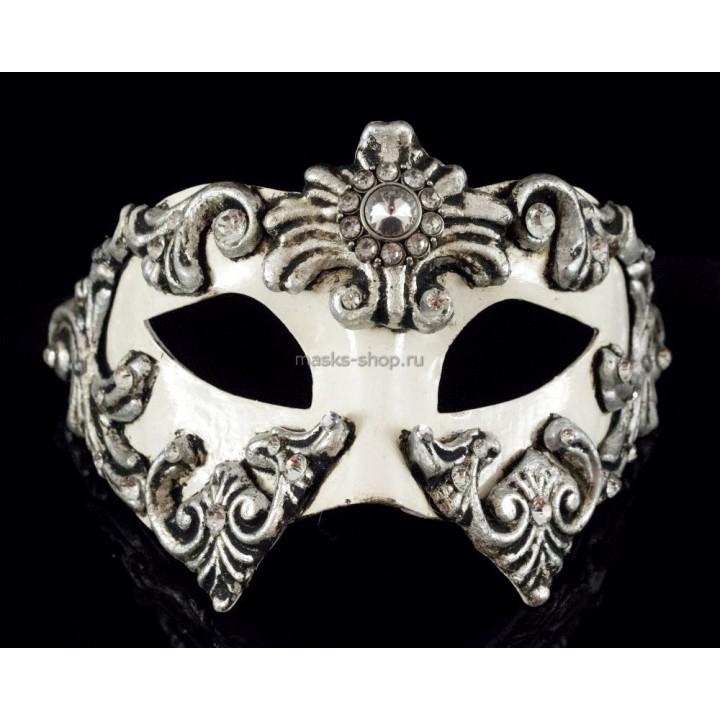 Маскарадная маска Barocco Silver White