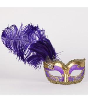 Маска с перьями Can Can Purple