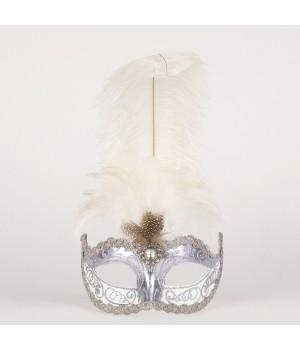 Маска с перьями Sisi Silver White