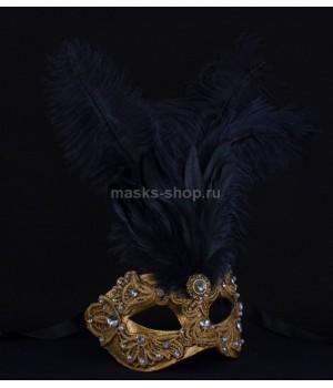 Маска с перьями Macrame Black
