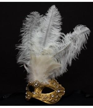 Маска с перьями Macrame White