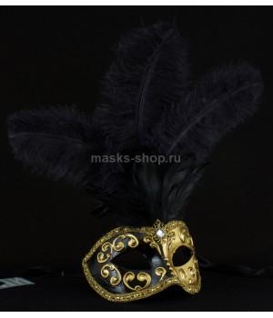 Маска с перьями Mezza Black