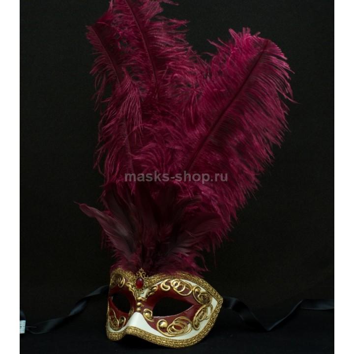 Маска с перьями Occhi Red