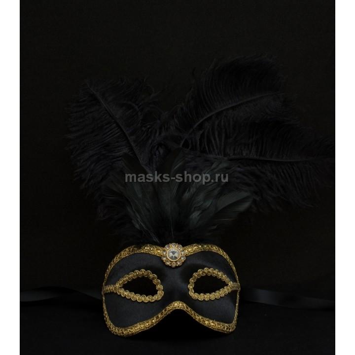 Маска с перьями Velluto Black