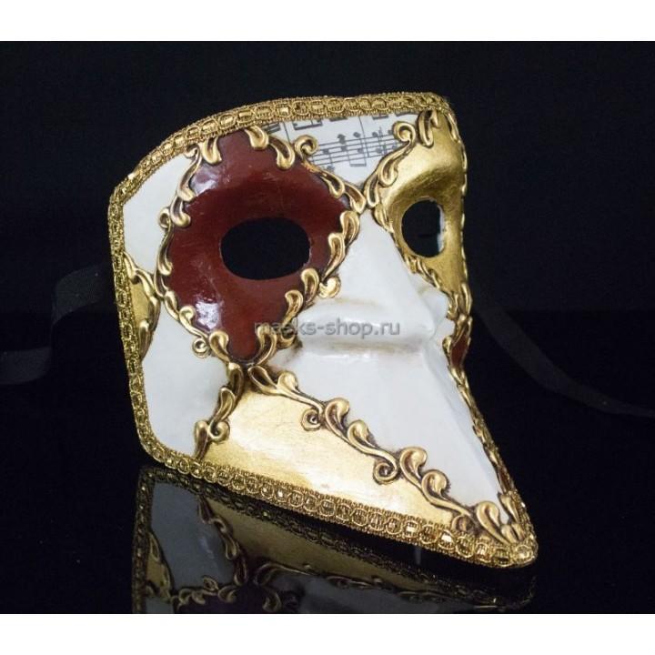 Венецианская маска Баута Musica White